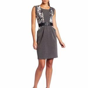 BCBGMAXAZRIA Laheld Print-Blocked Gray Dress M